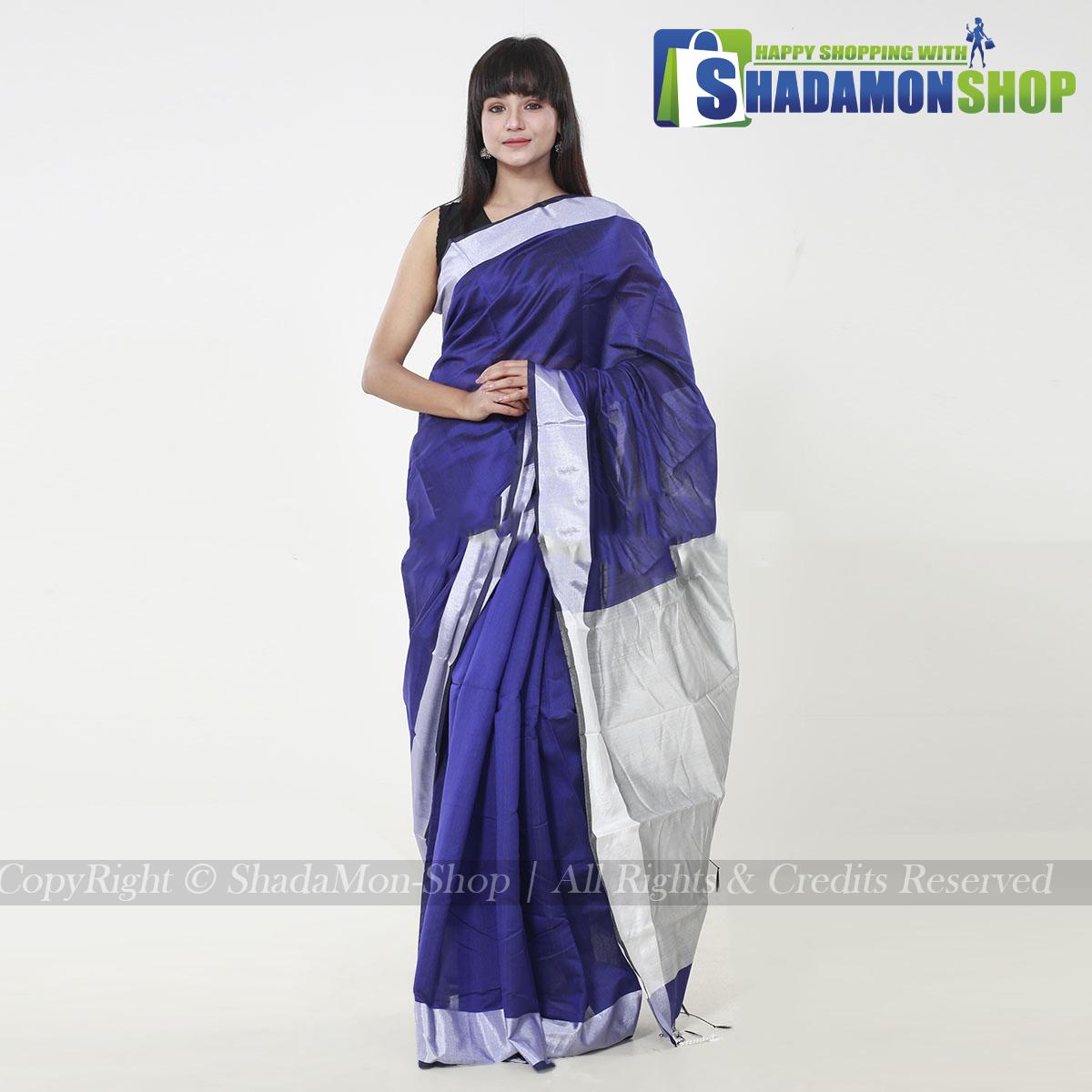 VIP Soft Half Silk Sharee Deep Blue And Silver