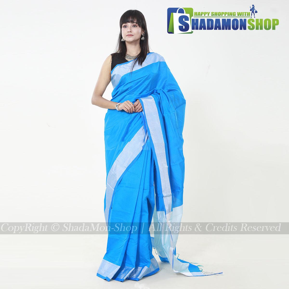 VIP Soft Half Silk Sharee Light Blue And Silver