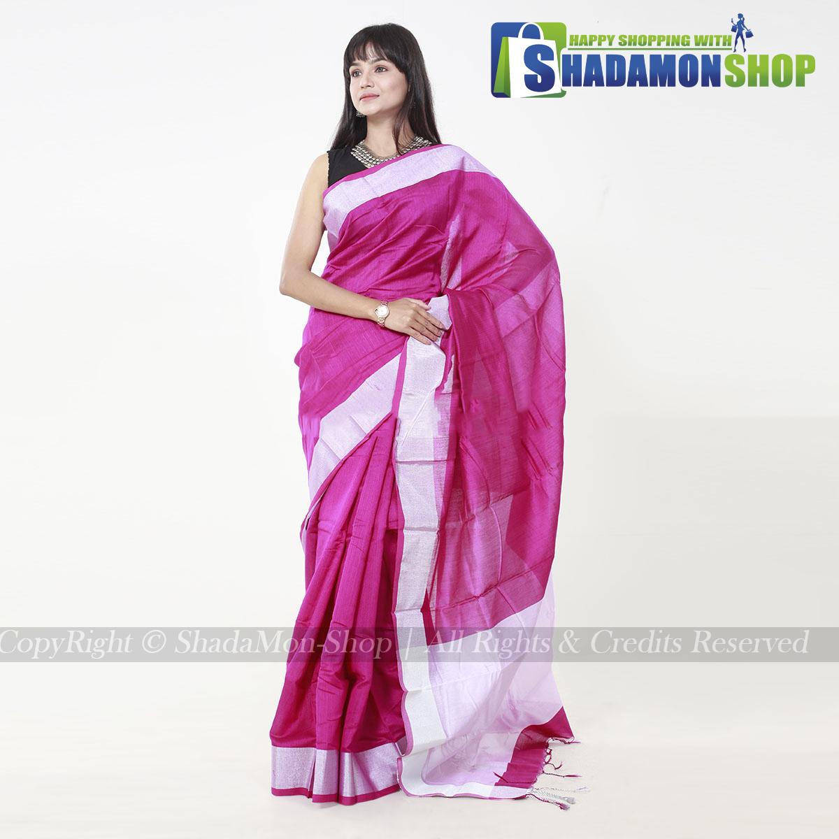VIP Soft Half Silk Sharee Pink And Silver