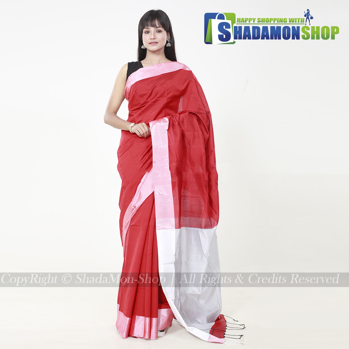 VIP Soft Half Silk Sharee Red And Silver