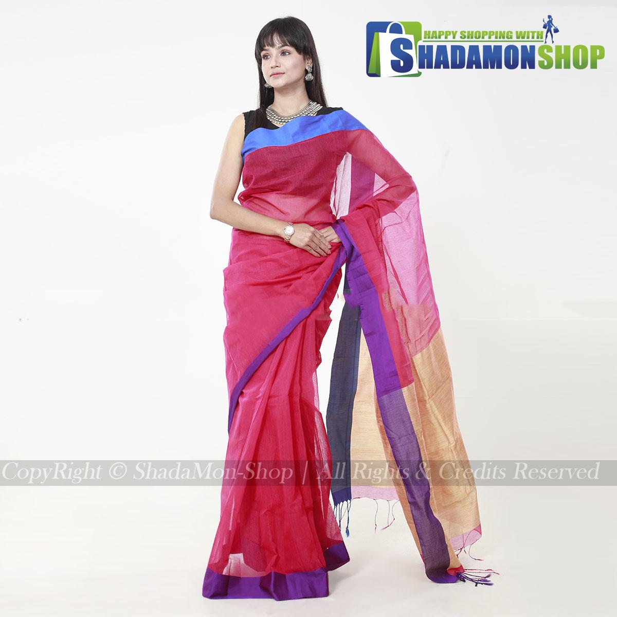 VIP Soft Half Silk Sharee Red And Blue