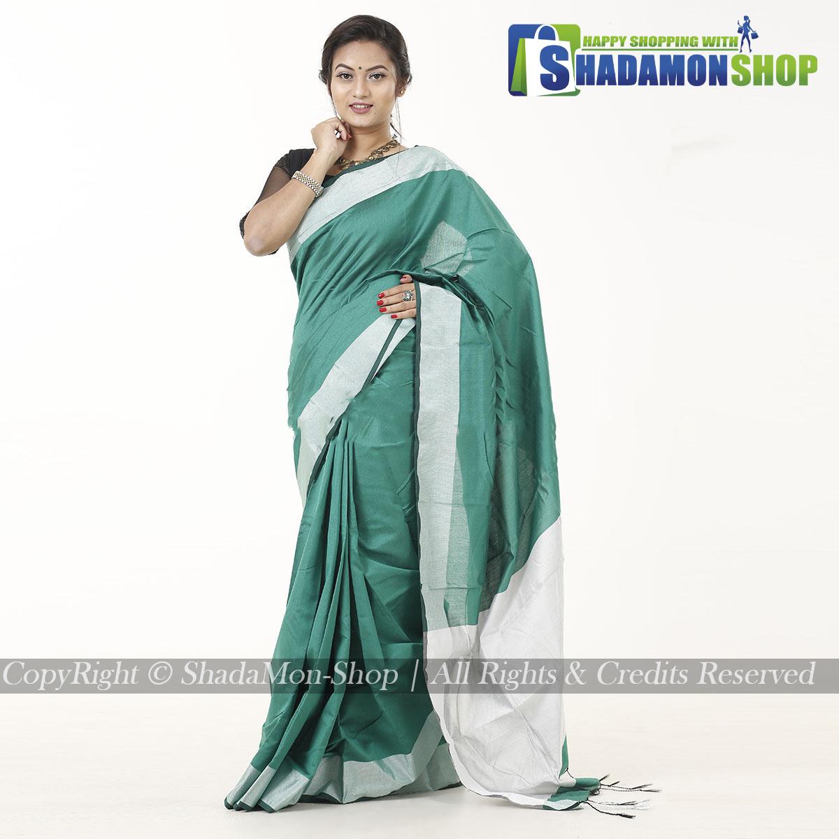 VIP Soft Half Silk Sharee Green And Silver