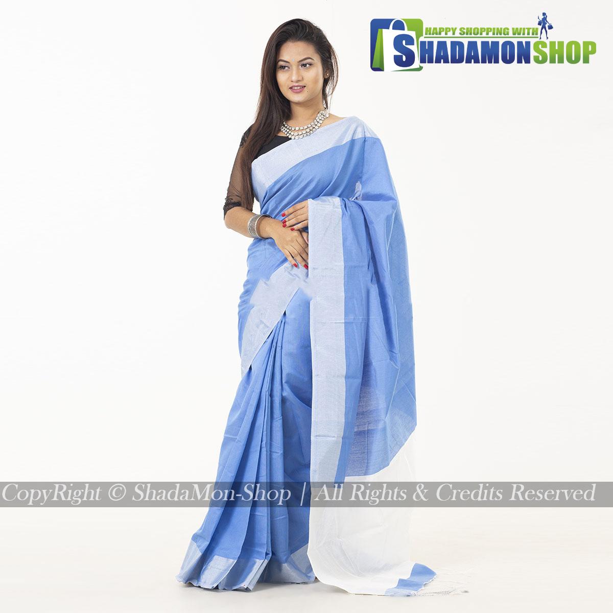 VIP Soft Half Silk Sharee Light Sky And Silver