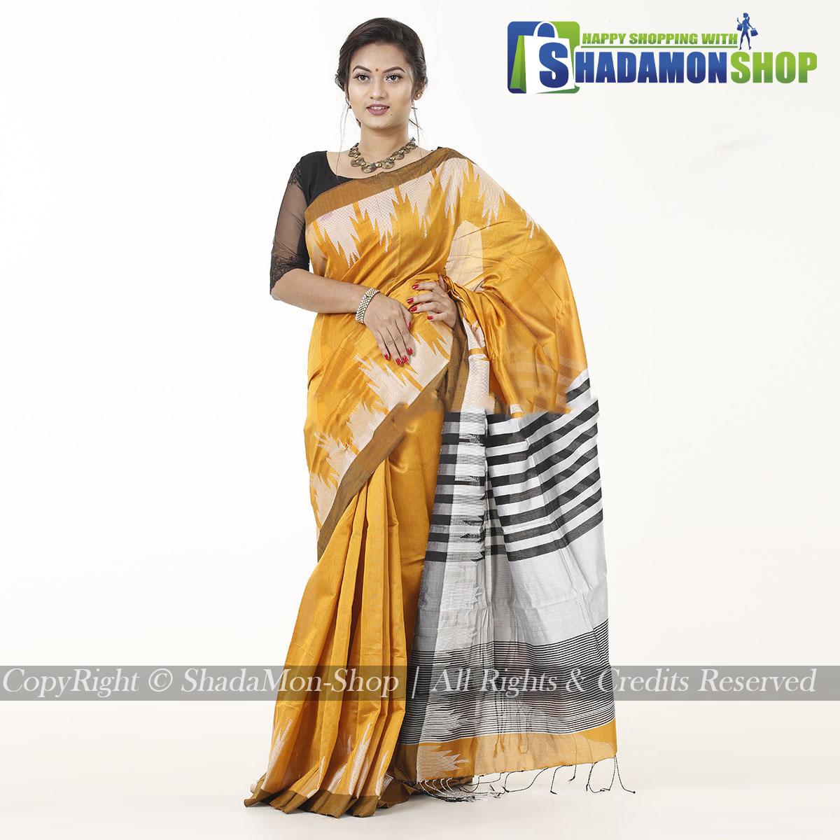 Moni Puri Silk Sharee Deep Yellow Colour