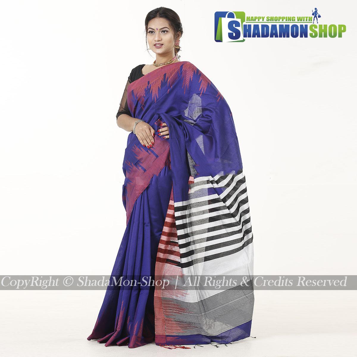 Moni Puri Silk Sharee Deep Blue Colour