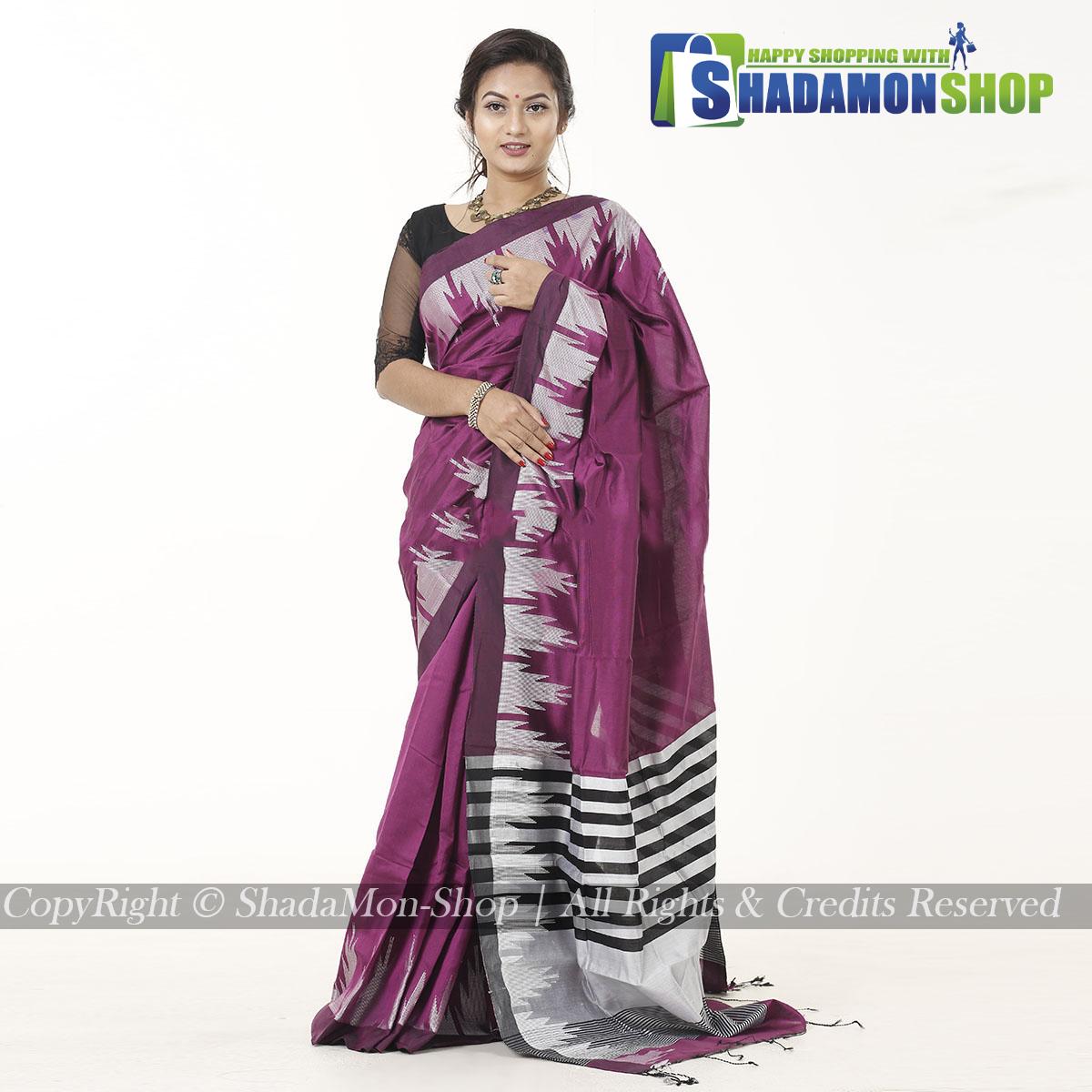 Moni Puri Silk Sharee Deep Purple Colour