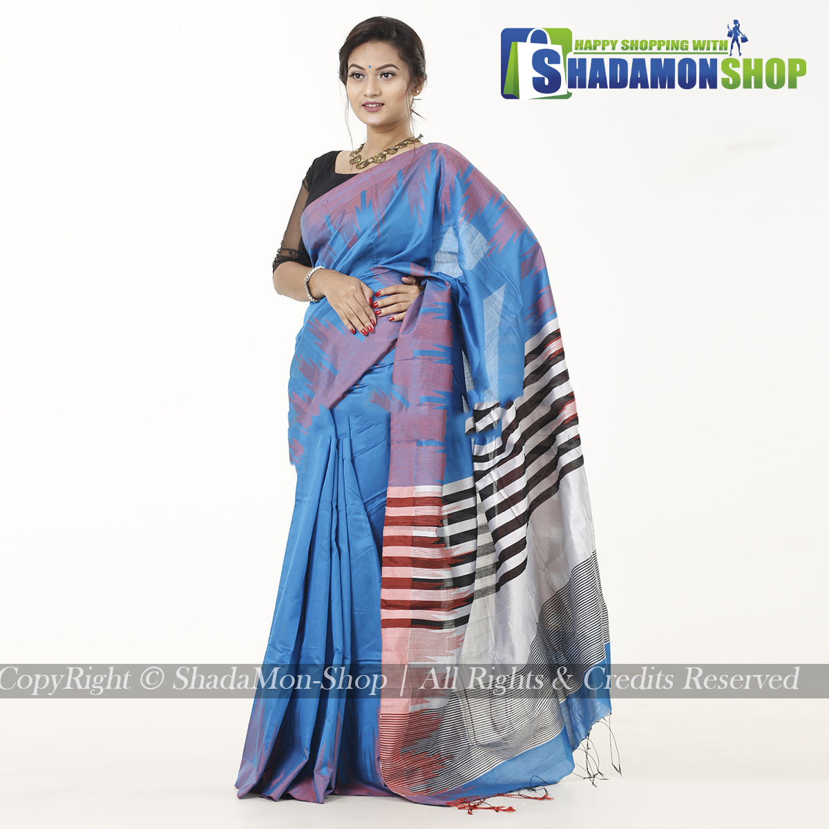 Moni Puri Silk Sharee Blue  Colour