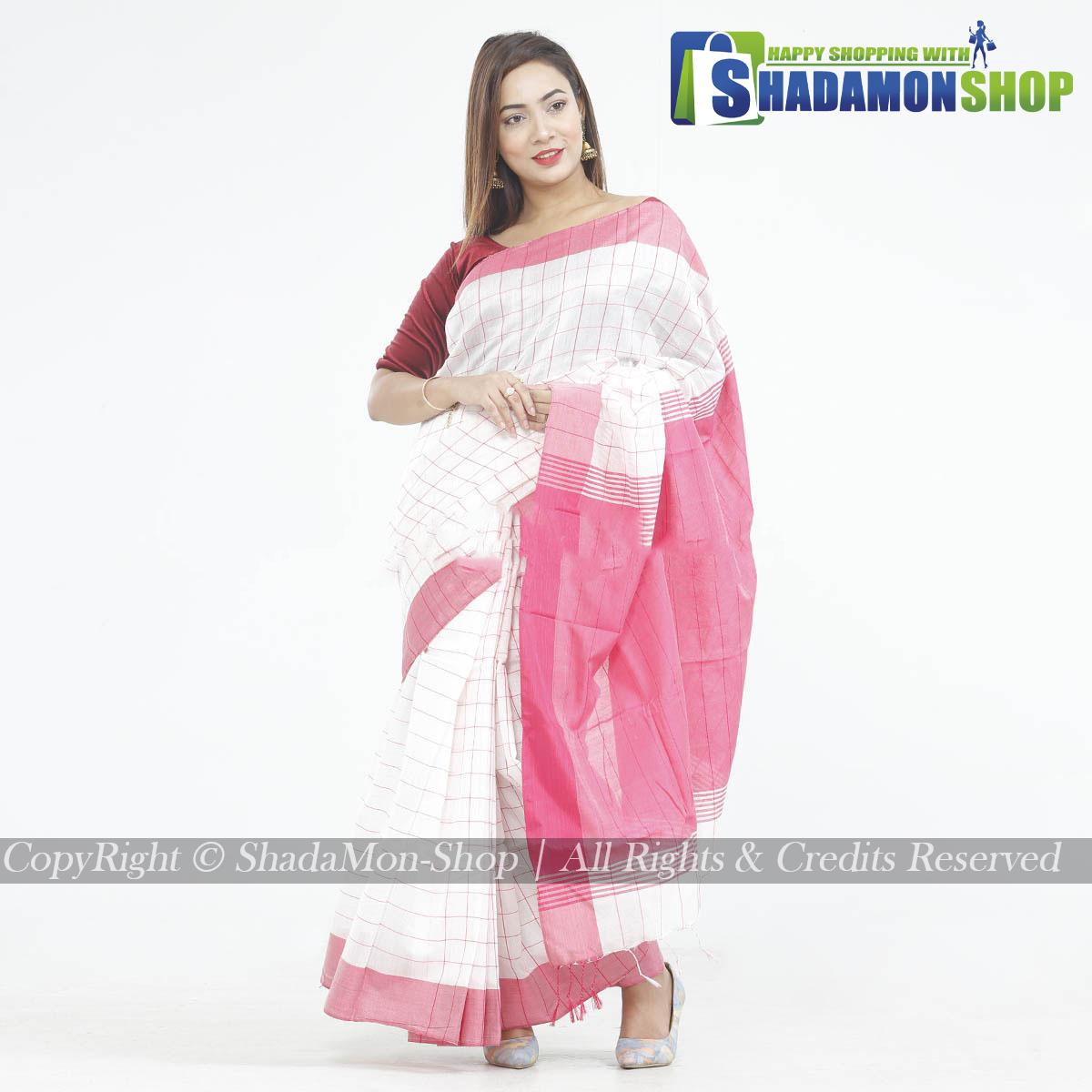 Dhupiyan Vip Half Silk White And Pink Chack Sharee