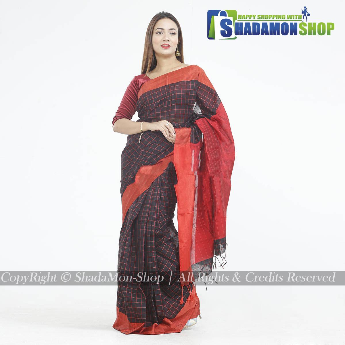 Dhupiyan Vip Half Silk Black And Red Chack Sharee