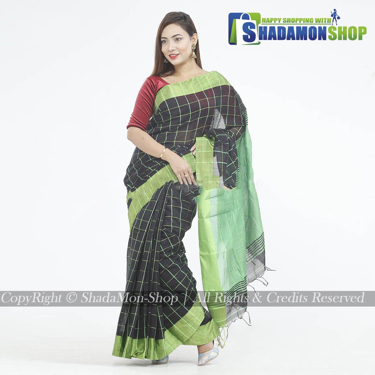 Dhupiyan Vip Half Silk Black And Green Chack Sharee