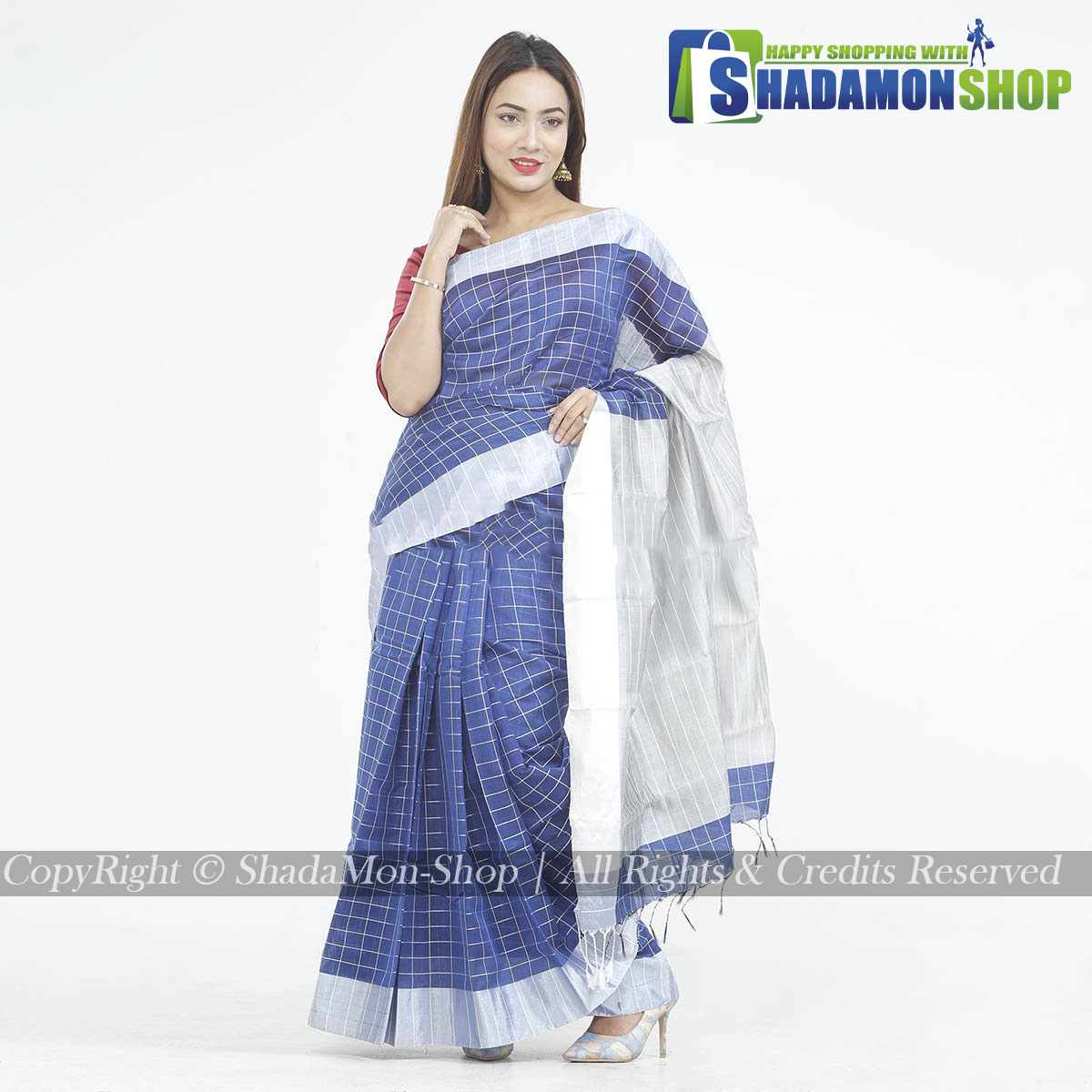 Dhupiyan Vip Half Silk Blue And Silver Chack Sharee