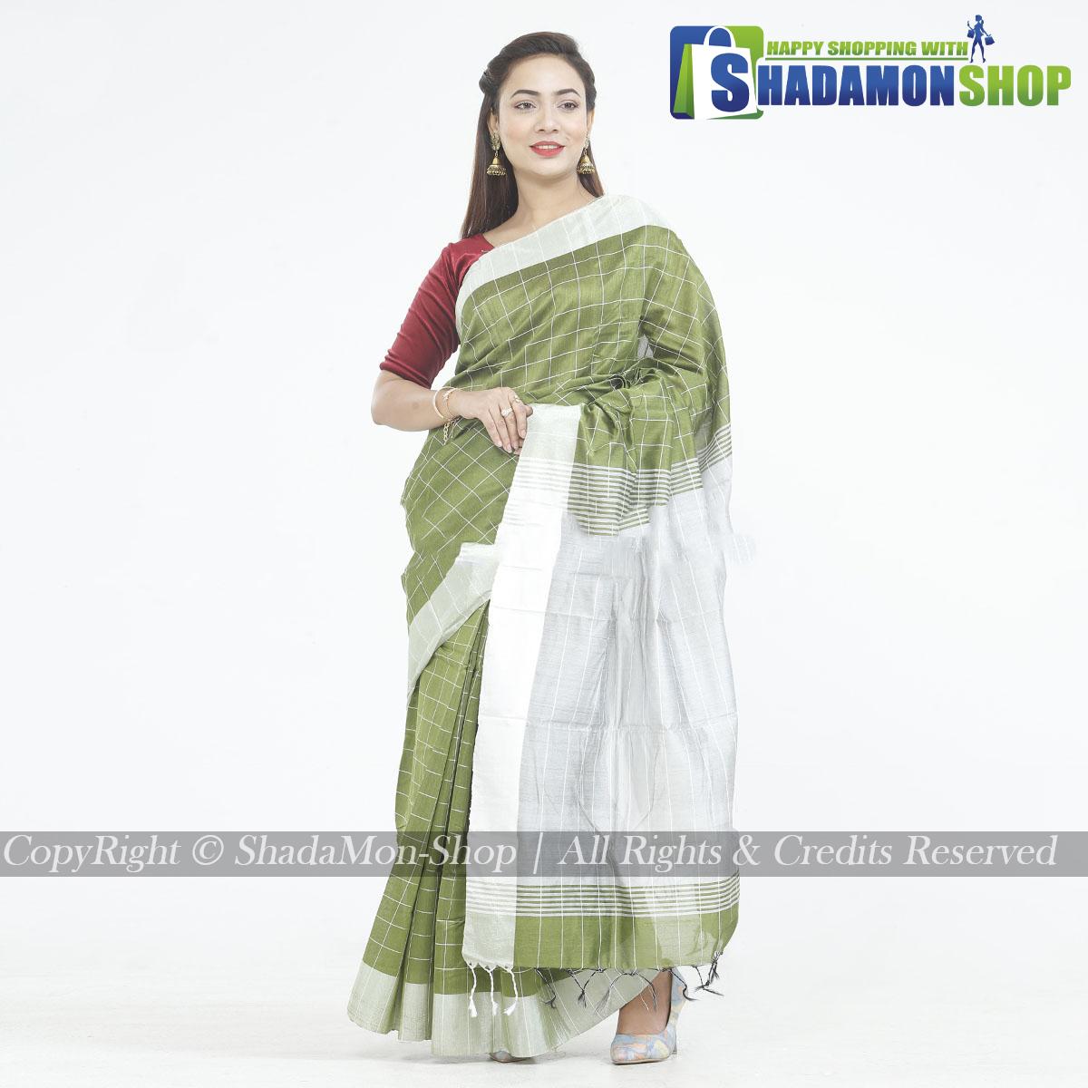 Dhupiyan Vip Half Silk Jolpai And Silver Chack Sharee