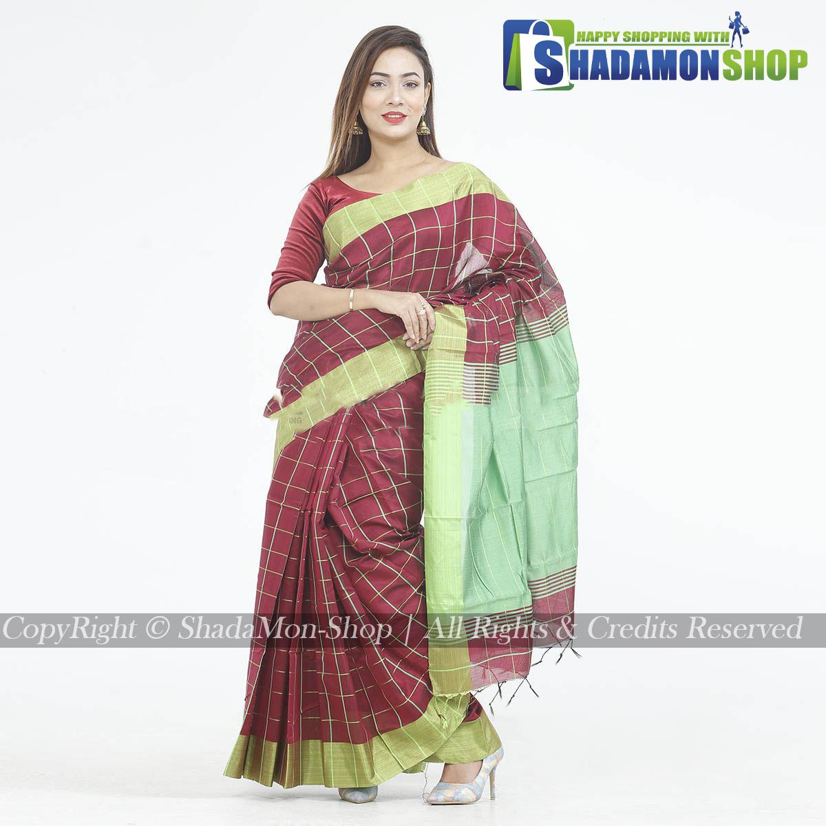 Dhupiyan Vip Half Silk Maroon And Green Chack Sharee