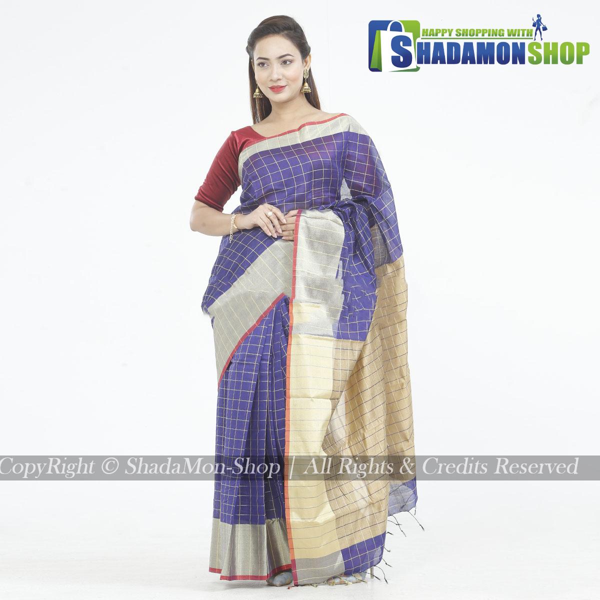 Dhupiyan Vip Half Silk Blue And Golden Chack Sharee