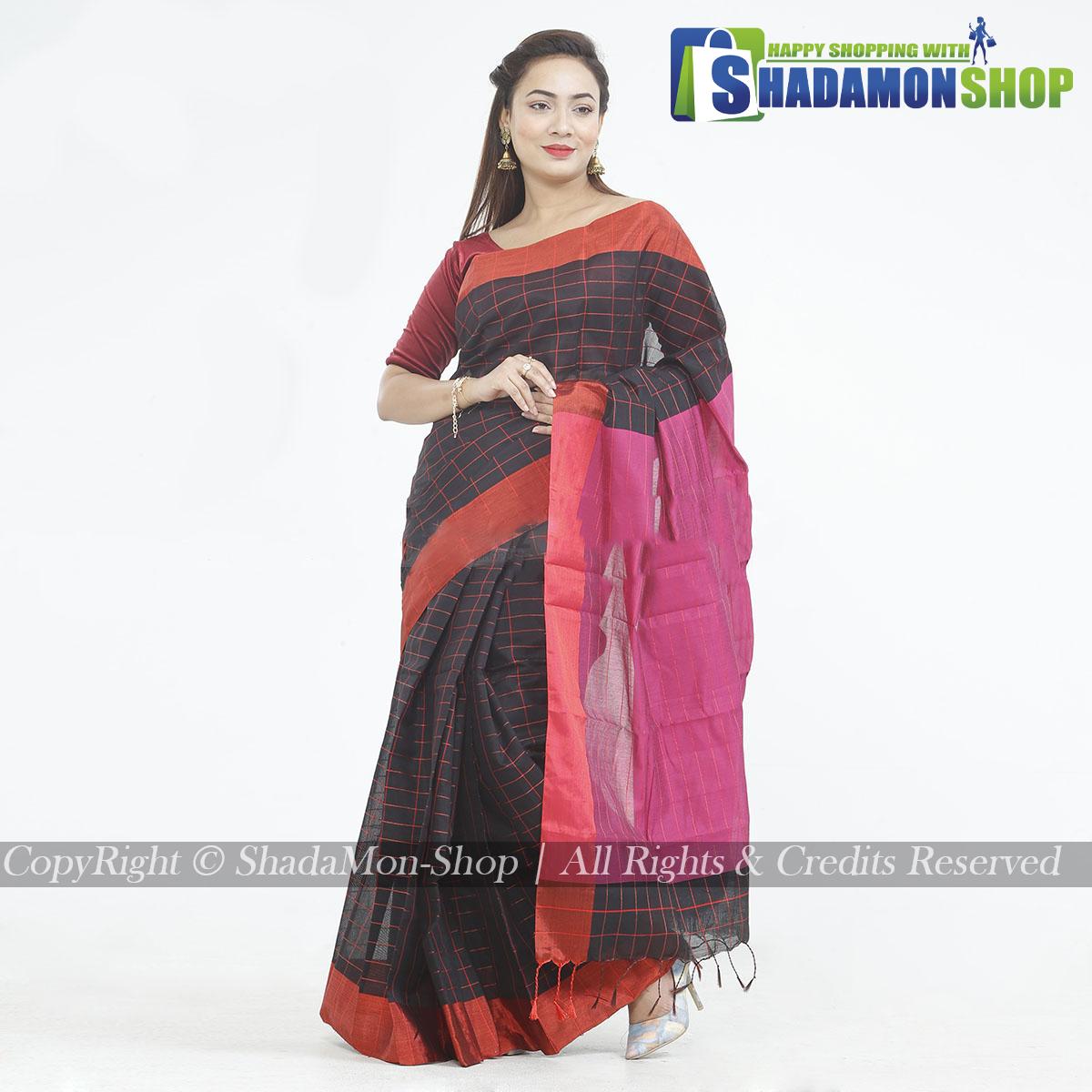 Dhupiyan Vip Half Silk Black And Pink Chack Sharee