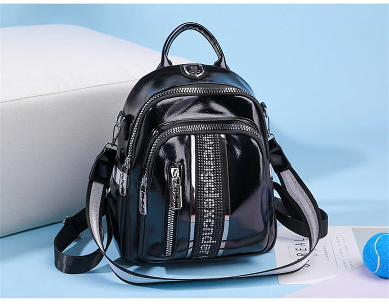 Women Microfiber Leather Big Capacity Backpack