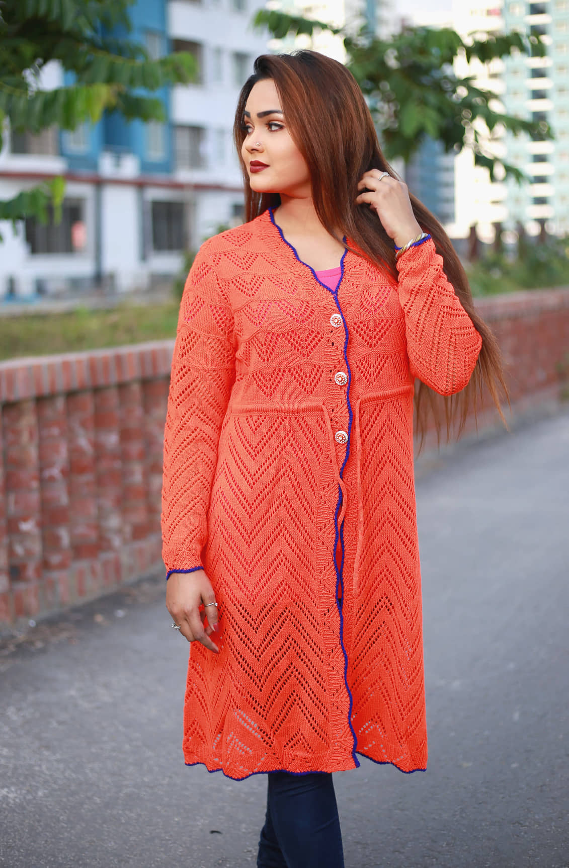 Women Self Design Long line Front-Open Sweater