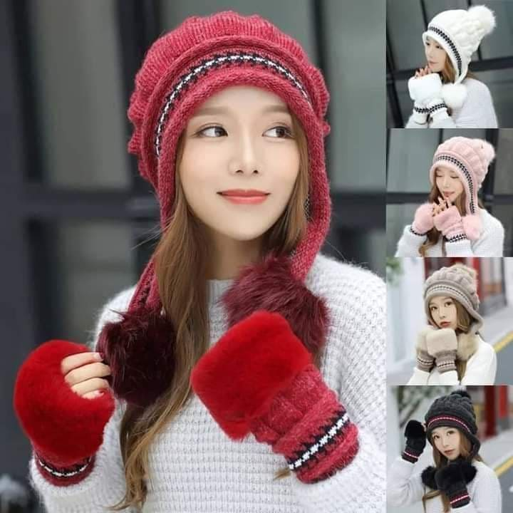 Winter Hats and Hand Gloves set for Women