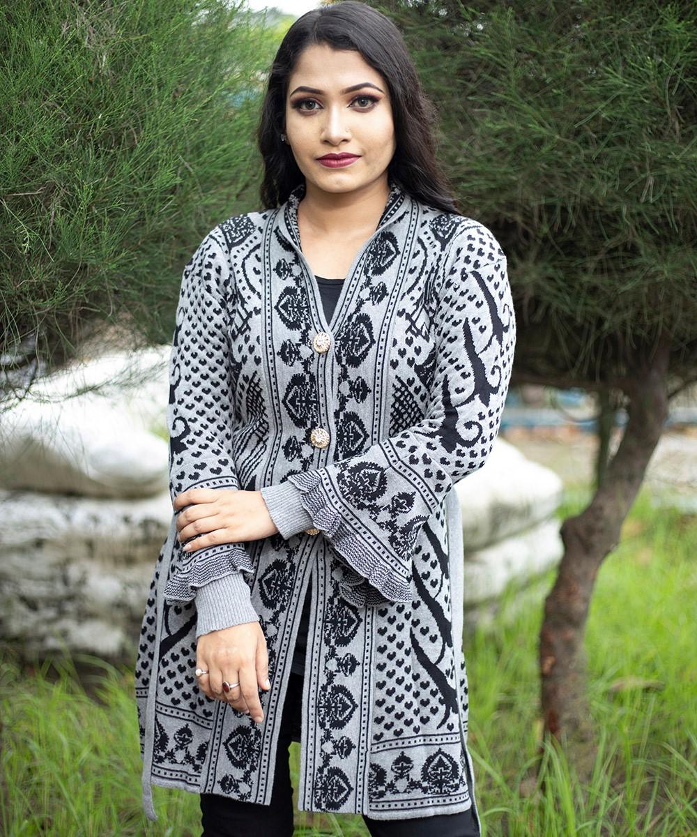 Women Black & Grey Front Open Nungor Design Cardigan