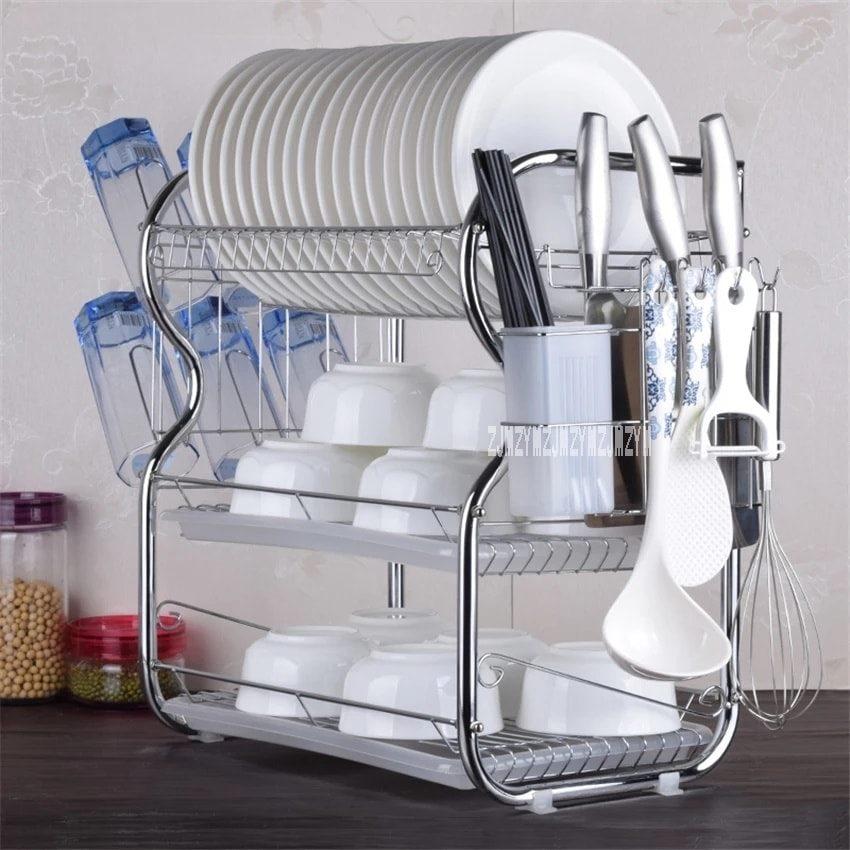 3 Layer Dish Drainer Kitchen Rack