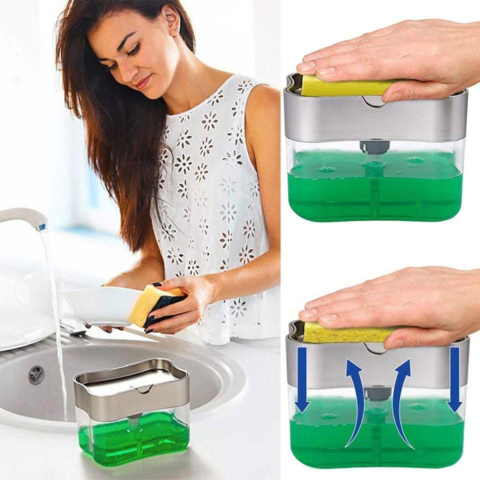 2-in-1 Pumping Type Soap Dispenser With Sponge Holder Brush