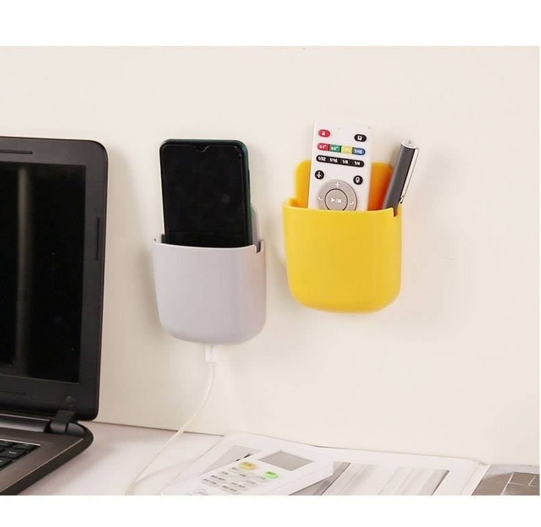 Mobile phone charging bracket wall-mounted remote control storage box