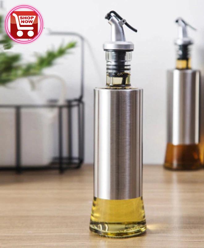Kitchen Stainless Steel Glass Combine Leak-proof Oil Bottle