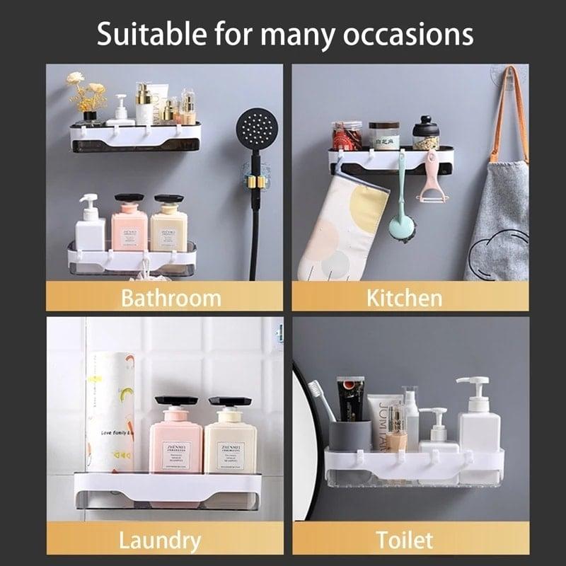Bathroom Shelf WC Shampoo Holder Shower Shelves Wall Mount Kitchen Storage Basket Cosmetic Rack Home Organizer Bath Accessories