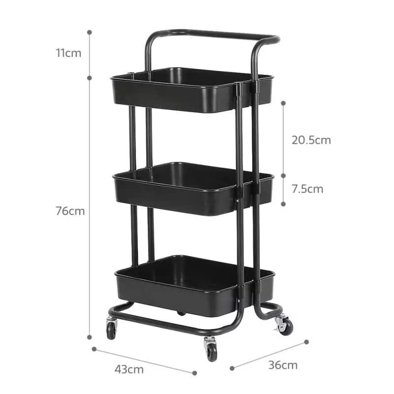 Foldable 3 Tier kitchen trolley