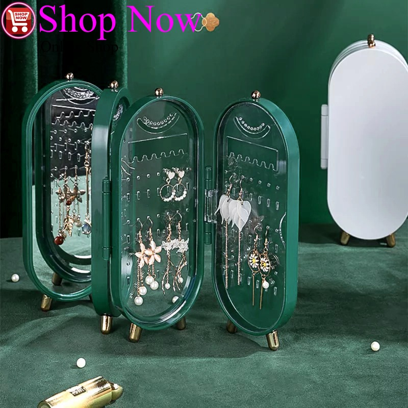 Jewelry Storage Box Earrings Display Stand Holder Necklace Organizer Folding Portable Plastic Jewelry Box With Mirror