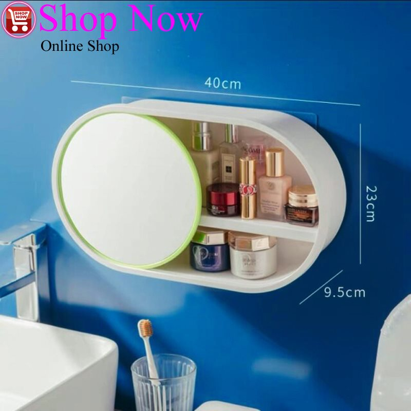 Bathroom Wall-mounted Makeup Organizer without Punching And Dust-proof Large Capacity...