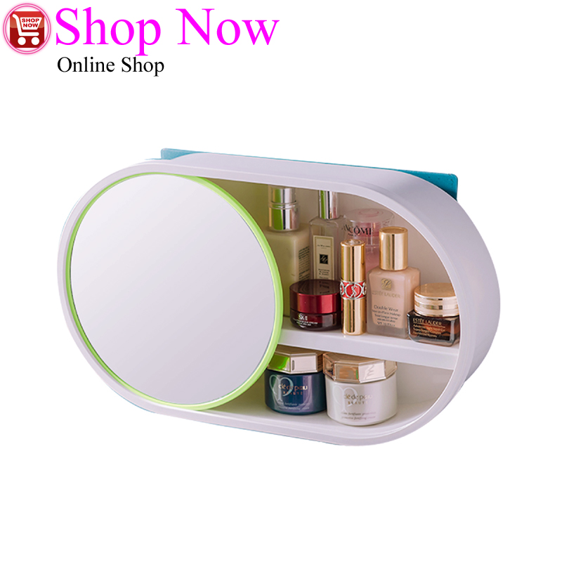 Bathroom Wall-mounted Makeup Organizer without Punching And Dust-proof Large Capacity Jewelry Cosmetic Storage Box with Mirror
