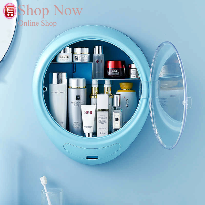 New Bathroom Wall-mounted Makeup Storage Box without Punching Large-capacity Jewelry Cosmetic Storage Box