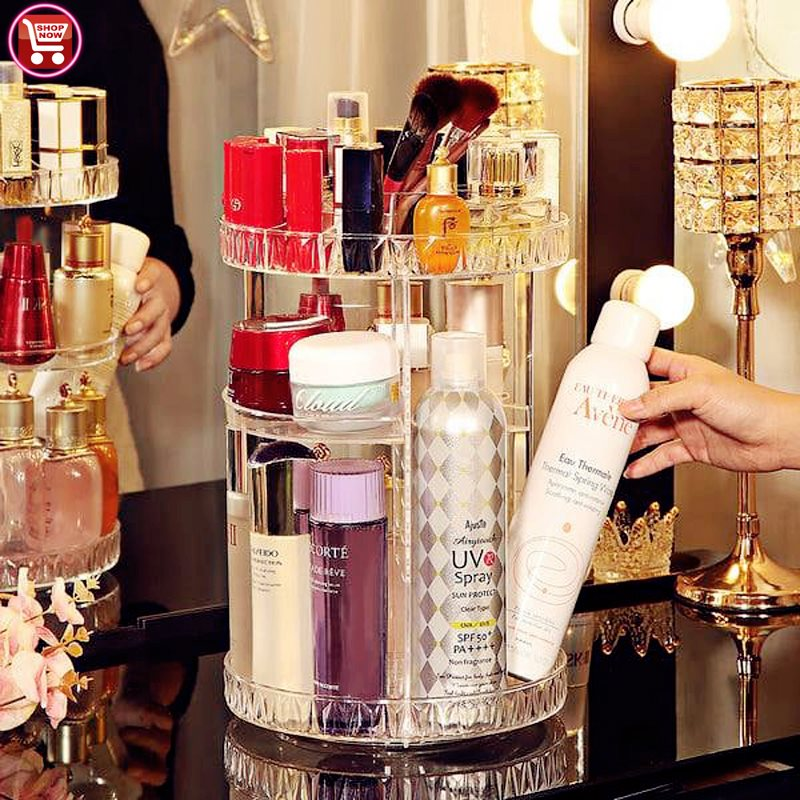 Diamond pattern rotating storage box 360 degree rotating rack, lipstick skin care product, acrylic cosmetic storage box