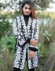 Women Black & White Front Open Fashion Design Cardigans