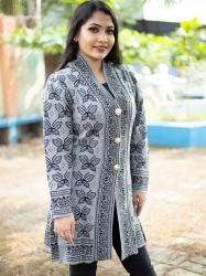 Women Black & Grey Front Open Butterfly Design Cardigans