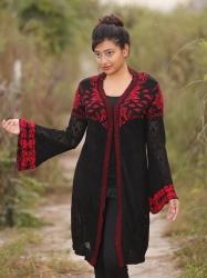 Women Black & Red Open Knit Fringed Front-Open Sweater