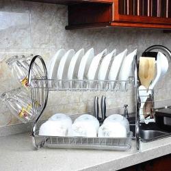 2 Layer Dish Drainer Kitchen Rack