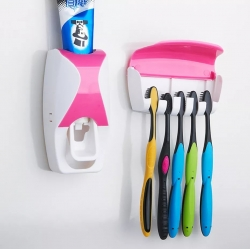 Automatic Toothpaste Dispenser Wall Mount Dust-proof Toothbrush Holder Wall Mount...