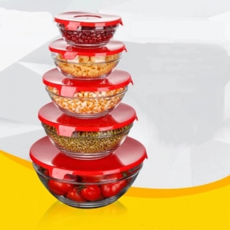Kitchen Food Container Glass Storage With Plastic Lid 5 Pcs/Set