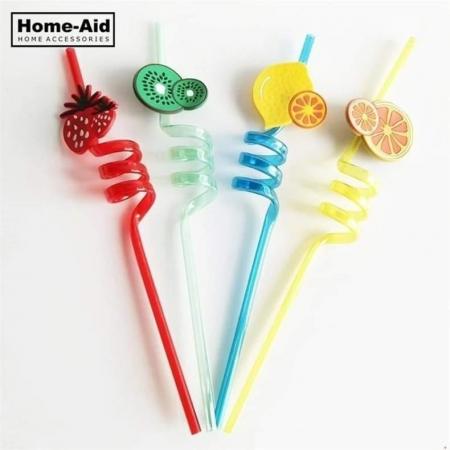 4pcs/lot 3D Fruit Shape Reusable Straw Flexible Plastic Decor Bar...