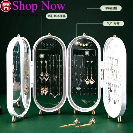 Jewelry Storage Box Earrings Display Stand Holder Necklace Organizer Folding...
