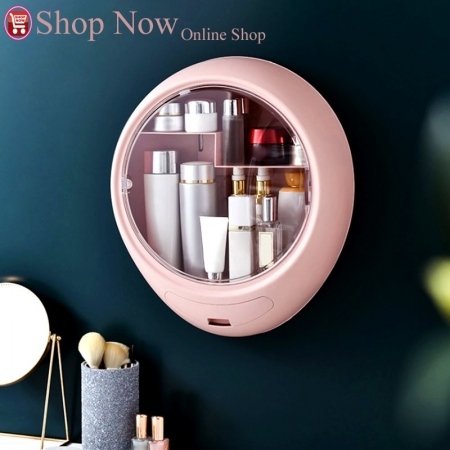New Bathroom Wall-mounted Makeup Storage Box without Punching Large-capacity Jewelry...