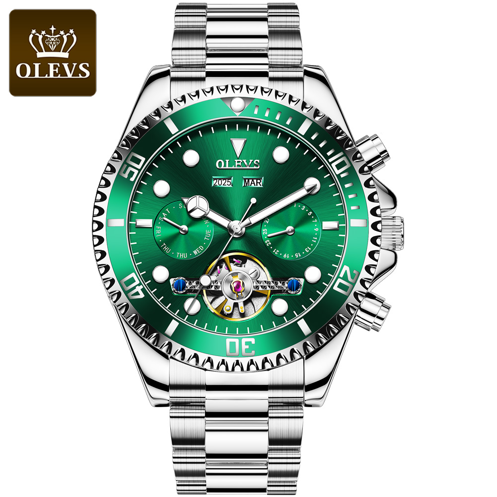 OLEVS 6605 Silver Green Luxury Mechanical Automatic Watch