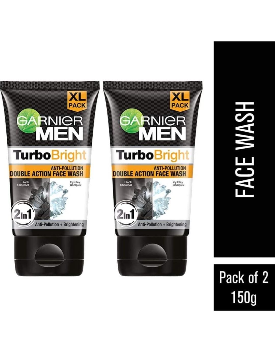 Garnier Men Turbo Bright Facewash - Charcoal Skin Brightening Facewash,...