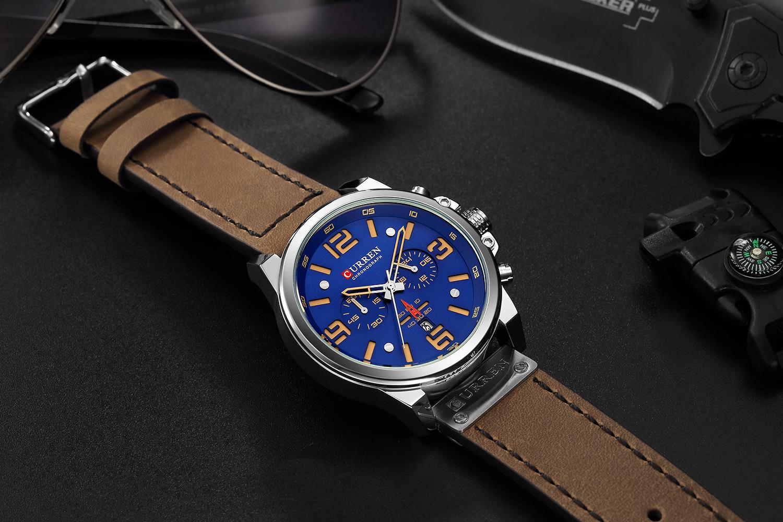 CURREN 8314(Military Waterproof Leather Sport Watch)