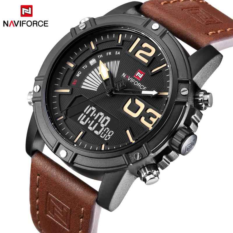 Luminous Faux Leather Strap Analog Digital Watch FOR MAN( NAVIFORCE...