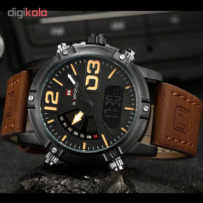 Luminous Faux Leather Strap Analog Digital Watch FOR MAN( NAVIFORCE 9095 )