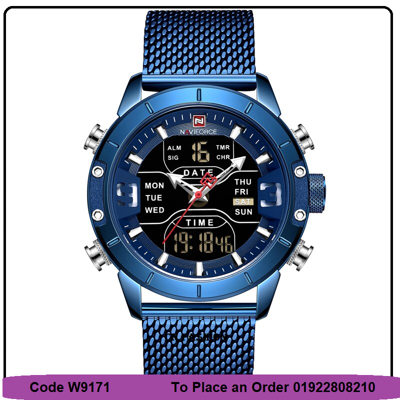 NAVIFORCE Stainless Steel Strap Analog and Digital Multifunction Waterproof Wrist watch