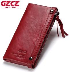 Genuine Leather Long Woman Wallet